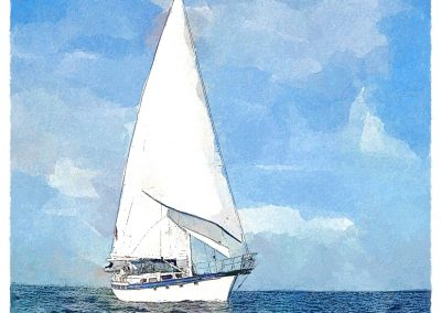 Illustration of a sailing boat